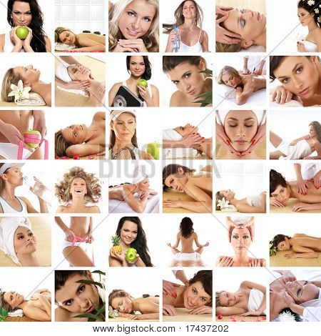 Great collage made of 36 pictures about health, dieting, sport and spa