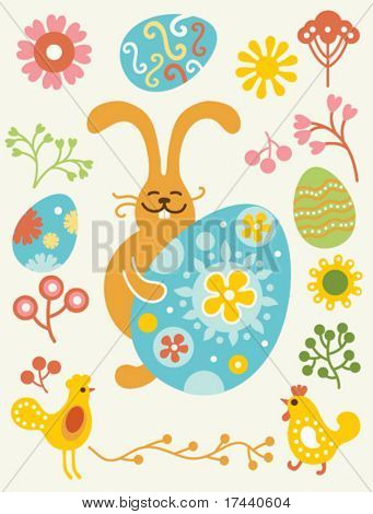 vector easter set