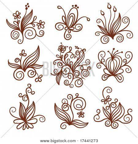 set of elements floral design