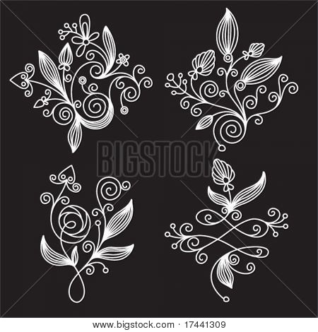 set black-and-white elements of floral design