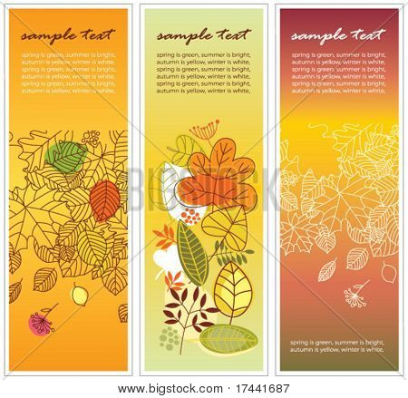 set of three vertical floral banners