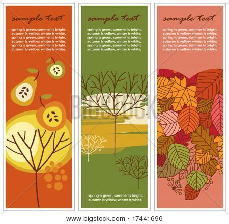 set of three vertical autumn banners