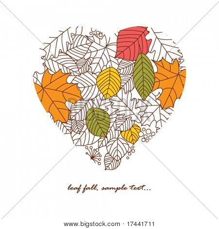 heart with autumnal leaves