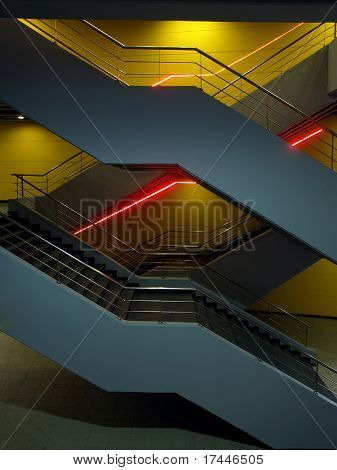 stairs illuminated with neon lights
