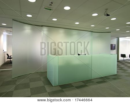 reception desk made of glass
