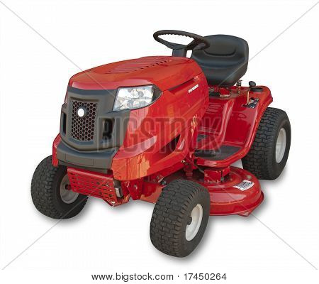 Tractor lawn mower, isolated