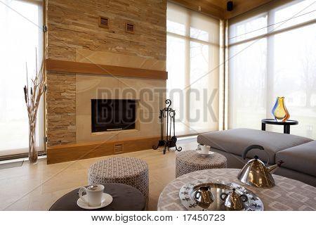 lareira eu moderna sala de estar