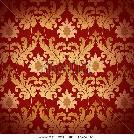 Decorative red and gold renaissance background