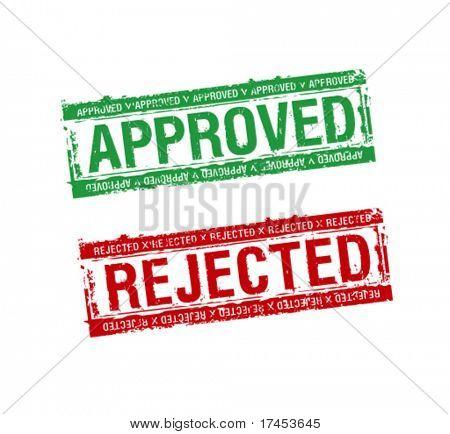 carimbos de borracha de vetores aprovados e rejeitados