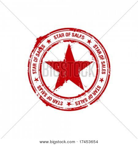 vector star of sales rubber stamp