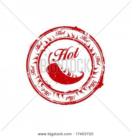 vector red hot chili burn stamp