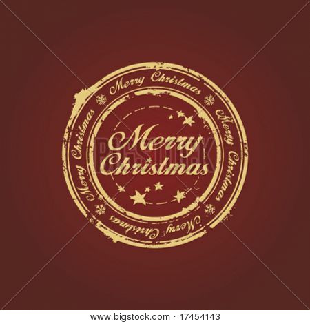 Merry Christmas stamp on claret