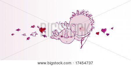 Cartoon Cupid. Valentine's Day personage.