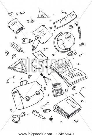Vector illustraition of school subjects, hand drawn design set.