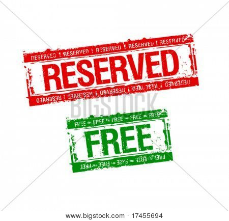 reserved and free rubber stamps set