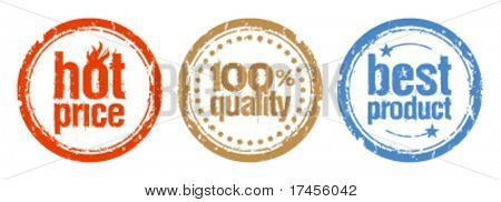 Set of stamps for best products with hot price
