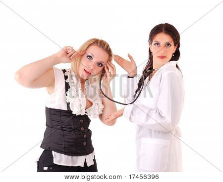 Medical doctor and young insane woman patient. Isolated on white.