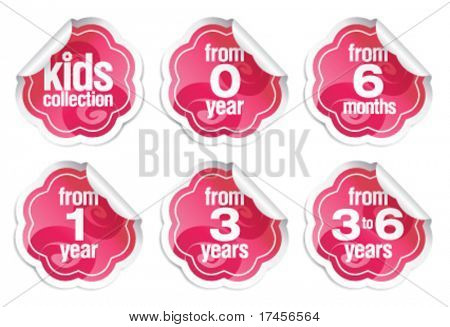 Set of labels for production for children of small age