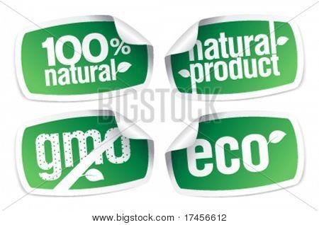Juego de pegatinas de producto de Ecología, libre de transgénicos.