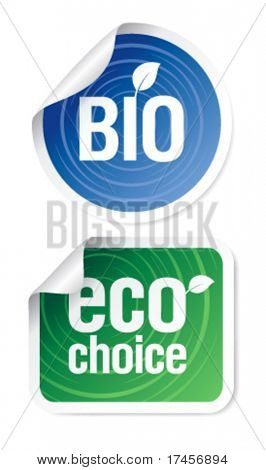 Set of eco choice stickers, bio products.