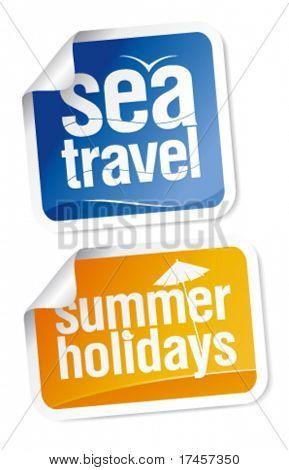Conjunto de adesivos de viagens de verão quente