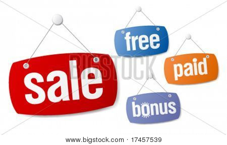 Set of sale and bonus signs