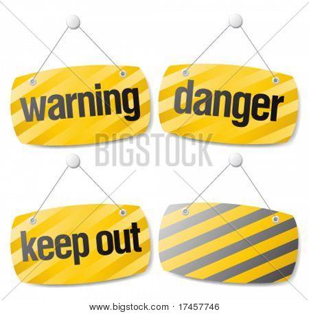 Set of warning vector signs