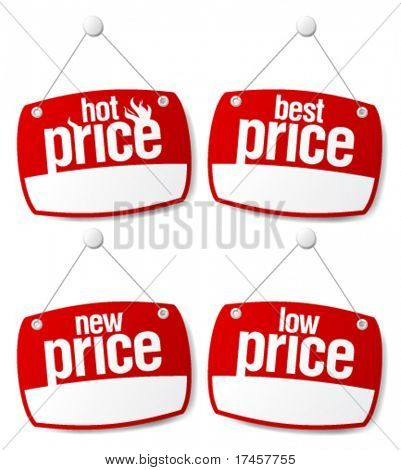 Best price signs set with empty place for prices