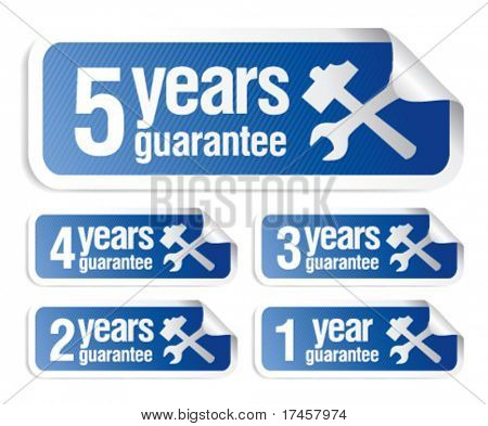 blue vector guarantee stickers set