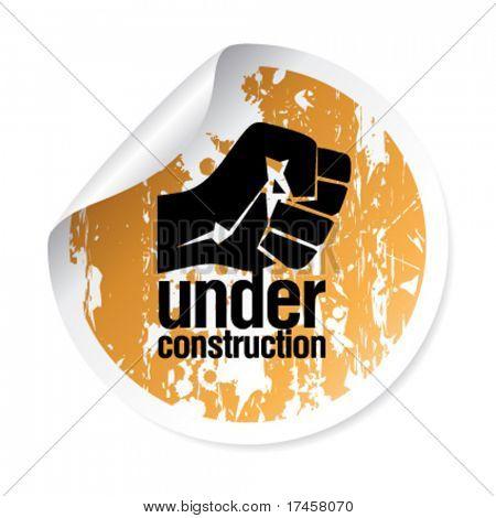 under construction grunge sticker