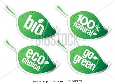 Set of natural product stickers in the form of leaves.