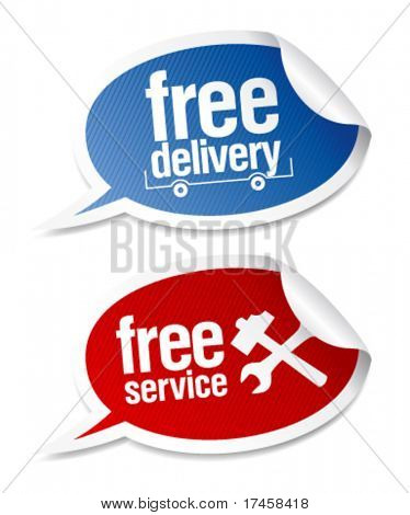 Free delivery, free service stickers in form of speech bubbles.