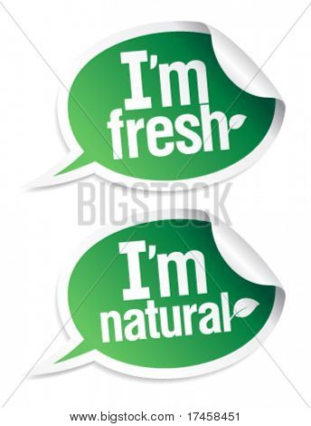 Set of natural product stickers in form of speech bubbles.