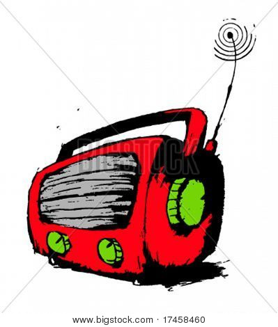 Red radio, hand drawn grunge illustration.