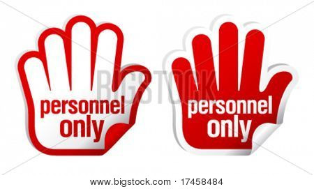 Personnel only stickers set in form of palm