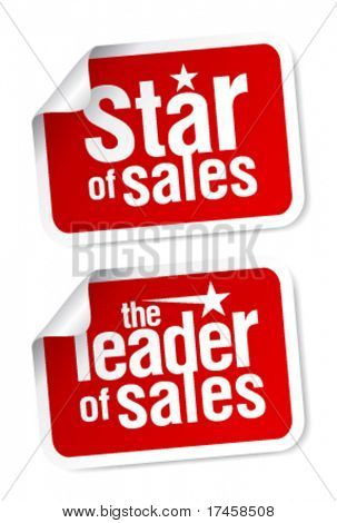 Leader of sales stickers set.