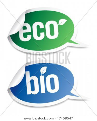 Set of natural bio product stickers in form of speech bubbles.