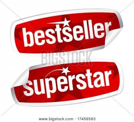 Bestseller and superstar stickers set.