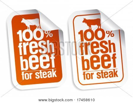 Fresh beef for steak stickers set