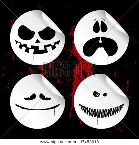 Emoticons de monstro no fundo do sangue preto, conjunto de halloween ímpios adesivos.