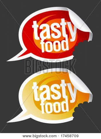Tasty food stickers set in form of speech bubbles.