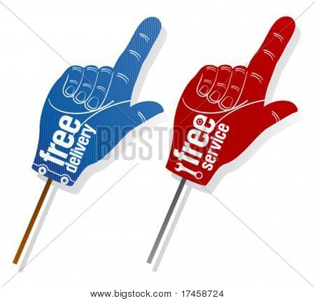 Free delivery, free service pointer signs set