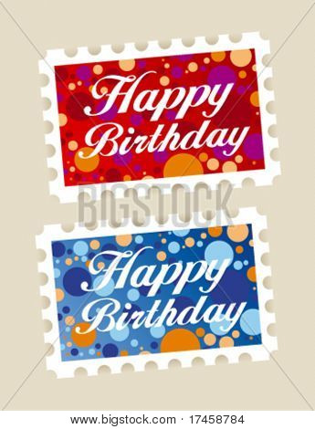 Happy birthday stamps stickers set