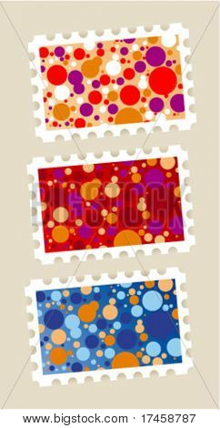 Postage stamps stickers set