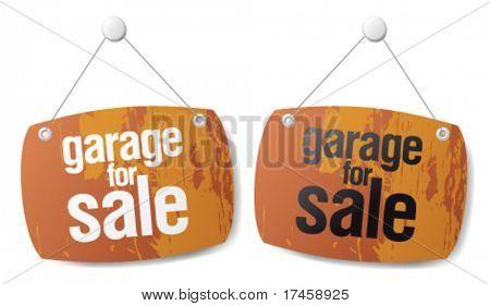 Garagem para sinais de vetor de venda.