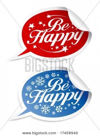 Be Happy Holidays stickers in form of speech bubbles.