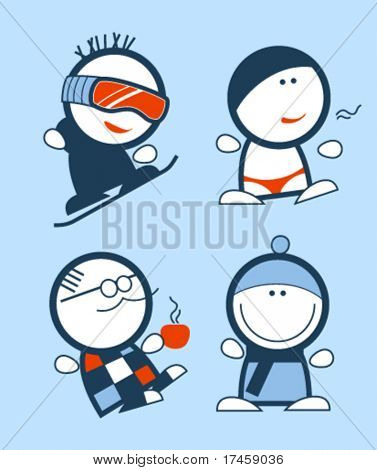 Set of winter funny people icons