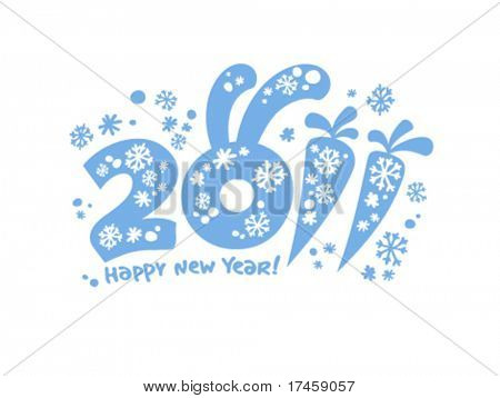 New Years card 2011, vector illustration.