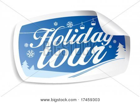 Holiday tour vector sticker.