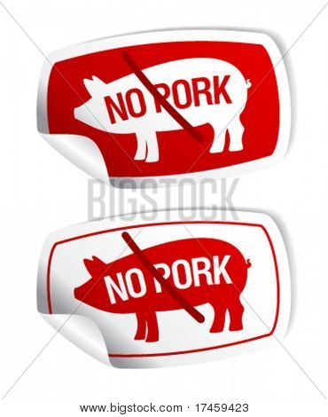 No pork vector stickers set.